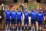 Team Italy at sign on for the start of the Women Elite Road Race of the UCI World Championships 2019 running 149.4km from Bradford to Harrogate, England. 28th September 2019.<br /> Picture: Eoin Clarke | Cyclefile<br /> <br /> All photos usage must carry mandatory copyright credit (© Cyclefile | Eoin Clarke)