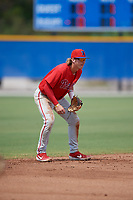 Philadelphia Phillies shortstop Bryson Stott (10) during an Instructional League game against the Toronto Blue Jays on September 27, 2019 at Englebert Complex in Dunedin, Florida.  (Mike Janes/Four Seam Images)