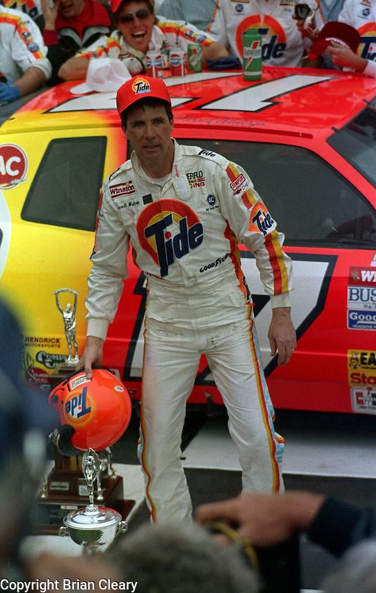 Darrell Waltrip Ickey shuffle victory lane Daytona 500 at Daytona International Speedway on February 19, 1989.  (Photo by Brian Cleary/www.bcpix.xom)