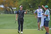 Seamus Power (IRL) tosses his ball to his caddie after sinking his putt on 1 during day 2 of the Valero Texas Open, at the TPC San Antonio Oaks Course, San Antonio, Texas, USA. 4/5/2019.<br /> Picture: Golffile | Ken Murray<br /> <br /> <br /> All photo usage must carry mandatory copyright credit (&copy; Golffile | Ken Murray)