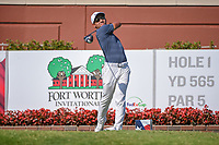 C.T. Pan (TAI) watches his tee shot on 1 during round 3 of the Fort Worth Invitational, The Colonial, at Fort Worth, Texas, USA. 5/26/2018.<br /> Picture: Golffile | Ken Murray<br /> <br /> All photo usage must carry mandatory copyright credit (&copy; Golffile | Ken Murray)