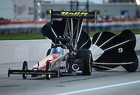 Aug. 31, 2012; Claremont, IN, USA: NHRA top fuel dragster driver Tommy Johnson Jr during qualifying for the US Nationals at Lucas Oil Raceway. Mandatory Credit: Mark J. Rebilas-