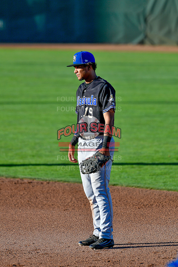 Ramon Hernandez (19) of the Missoula Osprey on defense against the Ogden Raptors in Pioneer League action at Lindquist Field on July 14, 2016 in Ogden, Utah. Ogden defeated Missoula 10-4. (Stephen Smith/Four Seam Images)