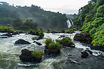 Iguazu Falls National Park in Brazil in the foreground and Argentina in the background.  A UNESCO World Heritage Site.