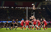 Sam Whitelock of New Zealand rises high to win lineout ball. Rugby World Cup Pool C match between New Zealand and Georgia on October 2, 2015 at the Millennium Stadium in Cardiff, Wales. Photo by: Patrick Khachfe / Onside Images
