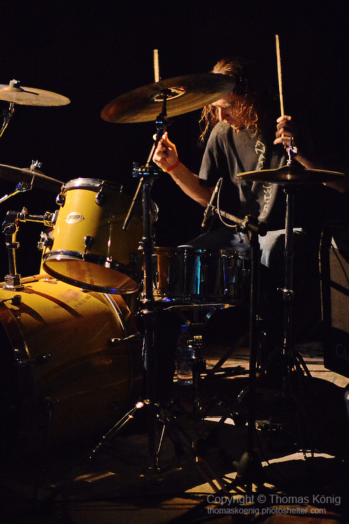 Kaohsiung, Taiwan -- Drummer Brian Giles performing with MR. DIRTY at the Rocks.