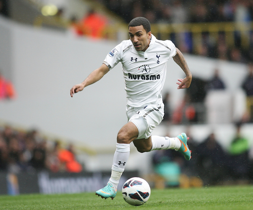 Tottenham Hotspur's Aaron Lennon in action during todays match  ..Football - Barclays Premiership - Tottenham Hotspur v Queens Park Rangers - Sunday 23rd September 2012 - White Hart Lane - London..