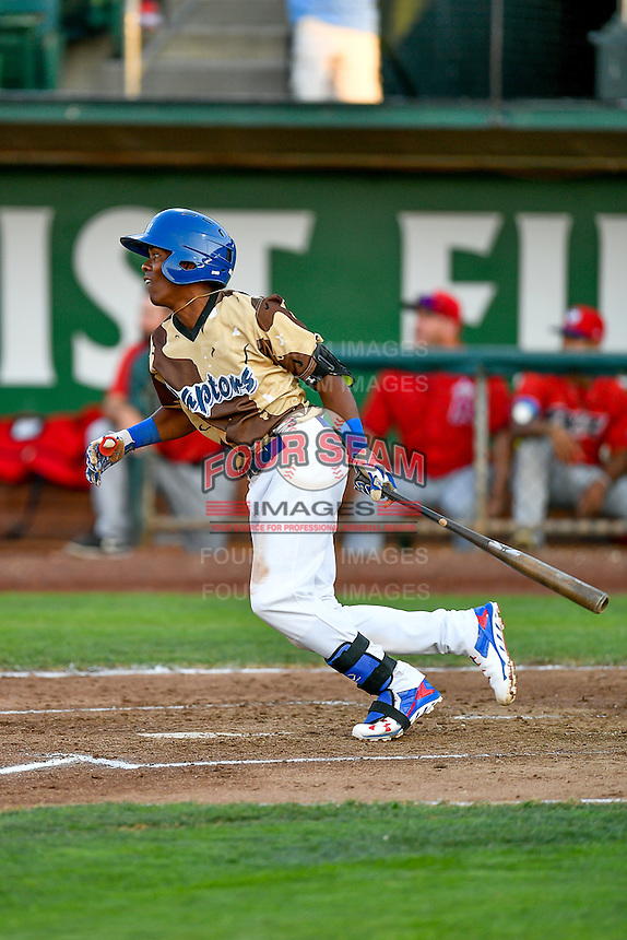 Errol Robinson (9) of the Ogden Raptors at bat against the Orem Owlz in Pioneer League action at Lindquist Field on July 29, 2016 in Ogden, Utah. Orem defeated Ogden 8-5. (Stephen Smith/Four Seam Images)