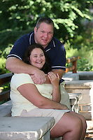 State College, PA -- 07/22/2007 -- Kimberly Bergey and Russell Shuey engagement photoshoot on Penn State campus grounds (Alumni Center and Nittany Lion Shrine)...Photos ©2007 Joe Rokita Photography..
