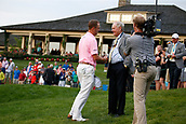 4th June 2017, Dublin, OH, USA;  Justin Thomas shakes hands with Jack Nicklaus after completing his round on the 18th hole during the Memorial Tournament - Final Round at Muirfield Village Golf Club in Dublin, Ohio