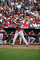 Bobby Wernes (7) of the Arkansas Razorbacks bats during a game between the Virginia Cavaliers and Arkansas Razorbacks at TD Ameritrade Park on June 13, 2015 in Omaha, Nebraska. (Brace Hemmelgarn/Four Seam Images)