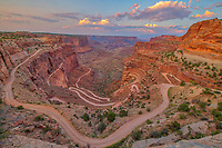 The Neck  view of Shafer  Trail and evening clouds, Canyonlands National Park, Utah , Island in the Sky