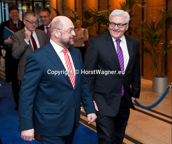 Brussels-Belgium - January 07, 2014 -- Frank-Walter STEINMEIER (ri), German Foreign Minister, travels to Brussels for his first official visit since returning to office and meets the top officials of the European institutions; here, with Martin SCHULZ (le), President of the European Parliament -- Photo: © HorstWagner.eu