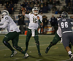 Colorado State quarterback Collin Hill (15) throws against Nevada in the first half of an NCAA college football game in Reno, Nev., Saturday, Nov. 10, 2018. (AP Photo/Tom R. Smedes)