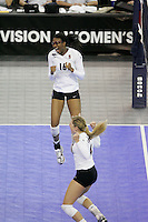 15 December 2007: Stanford Cardinal Foluke Akinradewo (16) and Bryn Kehoe (4) during Stanford's 25-30, 26-30, 30-23, 30-19, 8-15 loss against the Penn State Nittany Lions in the 2007 NCAA Division I Women's Volleyball Final Four championship match at ARCO Arena in Sacramento, CA.