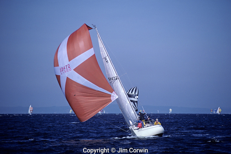 Sailboat race on Puget Sound Seattle Washington State USA..