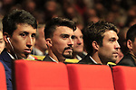 Egan Bernal (COL), Julian Alaphilippe and Thibaut Pinot (FRA) at the Tour de France 2020 route presentation held in the Palais des Congrès de Paris (Porte Maillot), Paris, France. 15th October 2019.<br /> Picture: Eoin Clarke | Cyclefile<br /> <br /> All photos usage must carry mandatory copyright credit (© Cyclefile | Eoin Clarke)