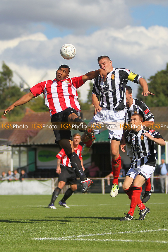 Rickie Hayles (L) of AFC Hornchurch rises with Steve Sheehan of East Thurrock - AFC Hornchurch vs East Thurrock United - Ryman League Premier Division Football on Non-League Day at The Stadium, Upminster Bridge, Essex - 07/09/13 - MANDATORY CREDIT: Gavin Ellis/TGSPHOTO - Self billing applies where appropriate - 0845 094 6026 - contact@tgsphoto.co.uk - NO UNPAID USE
