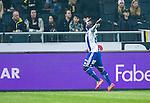 Solna 2014-03-31 Fotboll Allsvenskan AIK - IFK G&ouml;teborg :  <br /> G&ouml;teborgs Malick Man&eacute; Mane jublar efter sitt 2-0 m&aring;l<br /> (Foto: Kenta J&ouml;nsson) Nyckelord:  AIK Gnaget Solna IFK G&ouml;teborg Bl&aring;vitt jubel gl&auml;dje lycka glad happy