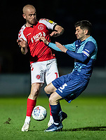 Fleetwood Town's Paddy Madden competing with Wycombe Wanderers' Joe Jacobson (right) <br /> <br /> Photographer Andrew Kearns/CameraSport<br /> <br /> The EFL Sky Bet League One - Wycombe Wanderers v Fleetwood Town - Tuesday 11th February 2020 - Adams Park - Wycombe<br /> <br /> World Copyright © 2020 CameraSport. All rights reserved. 43 Linden Ave. Countesthorpe. Leicester. England. LE8 5PG - Tel: +44 (0) 116 277 4147 - admin@camerasport.com - www.camerasport.com