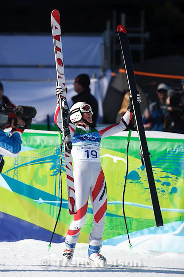 Trent Nelson  |  The Salt Lake Tribune.Andrea Fischbacher, Austria, gold medalist, Ladies' Super-G, at the XXI Olympic Winter Games in Whistler, Saturday, February 20, 2010.