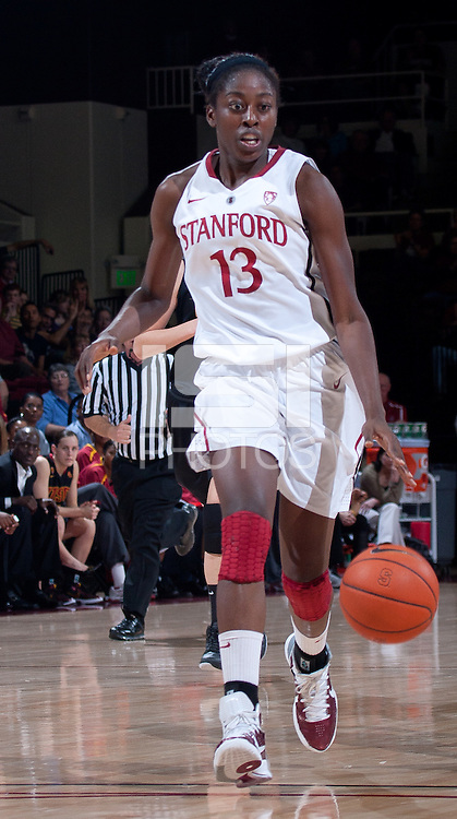 STANFORD, CA - January 22, 2011: Chiney Ogwumike of the Stanford women's basketball team during Stanford's game against USC at Maples Pavilion. Stanford beat USC 95-51.