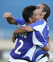 23 July 2005: Mark Chung of Earthquakes celebrates with Dwayne De Rosario after scoring a goal to tie the game against MetroStars at Spartan Stadium in San Jose, California.  Earthquakes tied MetroStars, 1-1 at halftime.