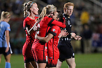 Piscataway, NJ - Sunday Sept. 25, 2016: Allie Long celebrates scoring, Dagy Brynjarsdottir, Hayley Raso during a regular season National Women's Soccer League (NWSL) match between Sky Blue FC and the Portland Thorns FC at Yurcak Field.