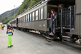 USA, Alaska, Sitka, passengers pose for pictures aboard the White Pass & Yukon Route Railroad from the town of Sitka up and into Canada