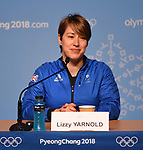 Lizzy Yarnold (GBR, skeleton) is unveiled as the TeamGB flagbearer for the opening ceremony of the Pyeongchang2018 winter Olympics. Alpesia ski centre. Pyeongchang2018 winter Olympics. Alpensia. Pyeongchang. Republic of Korea. 08/02/2018. ~ MANDATORY CREDIT Garry Bowden/SIPPA - NO UNAUTHORISED USE - +44 7837 394578