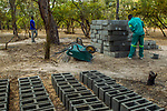 Men carrying bricks to build new anti-poaching base, Kafue National Park, Zambia