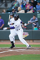 Marcus Davis (3) of the Winston-Salem Dash follows through on his swing against the Salem Red Sox at BB&T Ballpark on April 15, 2016 in Winston-Salem, North Carolina.  The Red Sox defeated the Dash 3-2.  (Brian Westerholt/Four Seam Images)