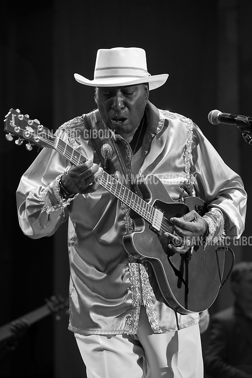 CHICAGO, june 9, 2013 : Final night of Chicago Blues Festival with a Chicago Blues All-Star lineup : Jimmy Burns, Jimmy Johnson, Billy Branch, James Cotton, Eddy &quot;The Chief&quot; Clearwater, Lil' Ed, John Primer, Deitra Farr, Demetria Taylor, Matt SKoller, Billy Flynn.<br /> Here Eddy &quot;The Chief&quot; Clearwater lights up the stage.