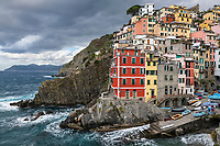 Charming architecture in the village of Riomaggiore, Cinque Terre,  Liguria, Italy.