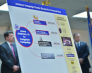 February 20, 2013  (Washington, DC)  A board outlining the criminal scheme by former U.S. Congressman Jesse Jackson, Jr. is displayed during a press conference by U.S. Attorney Ronald Machen Jr. (Photo by Don Baxter/Media Images International)