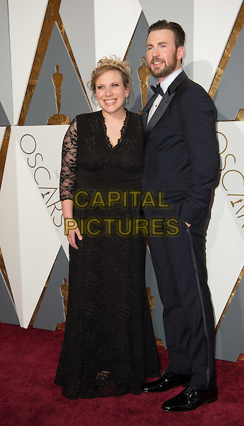 Chris Evans arrives with guest at The 88th Oscars&reg; at the Dolby&reg; Theatre in Hollywood, CA on Sunday, February 28, 2016.<br /> *Editorial Use Only*<br /> CAP/PLF<br /> Supplied by Capital Pictures