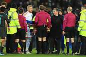 18th March 2018, King Power Stadium, Leicester, England; FA Cup football, quarter final, Leicester City versus Chelsea; Kasper Schmeichel of Leicester City has words with the referee as the final whistle went on a Leicester City attack