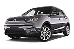 Stock pictures of low aggressive front three quarter view of 2015 Ssangyong Tivoli Quartz 5 Door Suv Low Aggressive