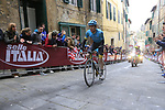 Luis Leon Sanchez (ESP) Astana on the final brutal climb of Via Santa Caterina in Siena during the 2017 Strade Bianche running 175km from Siena to Siena, Tuscany, Italy 4th March 2017.<br /> Picture: Eoin Clarke | Newsfile<br /> <br /> <br /> All photos usage must carry mandatory copyright credit (&copy; Newsfile | Eoin Clarke)