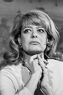 1968 --- Melina Mercouri, Greek actress and political activist, at a press conference in New York City for exiled Greek political leader Andreas Papandreou. --- Image by © JP Laffont