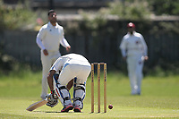 M Hussain of Newham gets hit where it hurst during Newham CC vs Barking CC, Essex County League Cricket at Flanders Playing Fields on 10th June 2017
