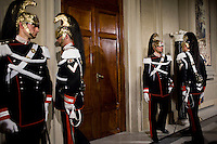 Roma, 21 Febbraio, 2014. Il cambio della guardia al Quirinale durante le consultazioni per il nuovo governo<br /> Italian Corazziere honour guard, stands at the Quirinale presidential palace in Rome before the press conference of new Prime Minister , Matteo Renzi.