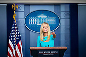 White House Press Secretary Kayleigh McEnany, calls on a member of the media during a news conference in the Brady Press Briefing Room of the White House in Washington, DC, on Wednesday, September 16, 2020. Photographer: Al Drago/Bloomberg<br /> Credit: Al Drago / Pool via CNP