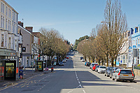 Pictured: Walter Road, one of the busiest central roads, is deserted in Swansea, Wales, UK. Sunday 22 March 2020<br /> Re: Covid-19 Coronavirus pandemic, UK.