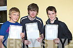 FIRST; Gerard Summers and Maurice Roche (Cordal) and Declan O'Mahony (Scartaglin) who arrived at St Patrick's Secondry School, Castleisland on Wednesday to collect their leaving cert result. ..