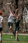 5 May 2018: Vermont Commons School plays Lyndon Institute in the second round of the Capitol City Classic Ultimate Disk Tournament at Montpelier High School in Montpelier, Vermont. Mandatory Credit: Ed Wolfstein Photo *** RAW (NEF) Image File Available ***