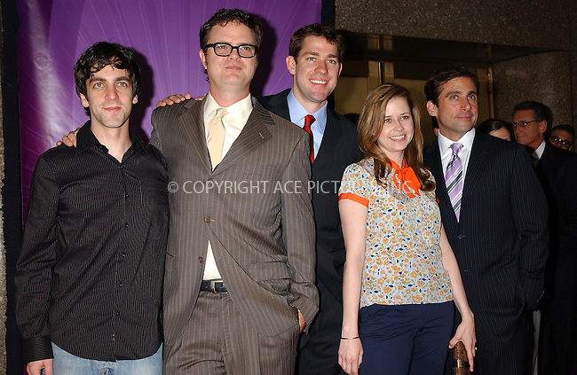 WWW.ACEPIXS.COM . . . . . ....NEW YORK, MAY 16, 2005....B. J. Novak, Rainn Wilson, John Krasinski, Jenna Fischer and Steve Carell at the NBC Primetime Preview red carpet arrivals for Upfront Week held at Radio City Music Hall.....Please byline: KRISTIN CALLAHAN - ACE PICTURES.. . . . . . ..Ace Pictures, Inc:  ..Craig Ashby (212) 243-8787..e-mail: picturedesk@acepixs.com..web: http://www.acepixs.com