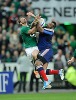 15th March 2014; Rob Kearney, Ireland, in action against Mathieu Bastareaud, France. RBS Six Nations, France v Ireland, Stade de France, St Denis, Paris. Picture credit: Tommy Grealy/actionshots.ie.
