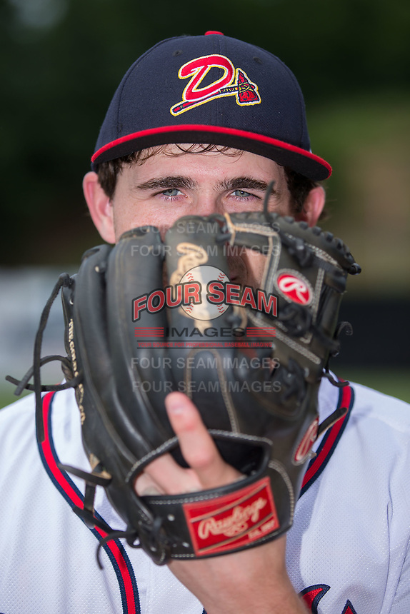 Danville Braves pitcher Connor Johnstone (48) poses for a photo prior to the game against the Princeton Rays at American Legion Post 325 Field on June 25, 2017 in Danville, Virginia.  The Braves walked-off the Rays 7-6 in 11 innings.  (Brian Westerholt/Four Seam Images)