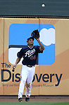 Reno Aces left fielder Juan Rivera makes a catch in a minor league baseball game against the Sacramento River Cats in Reno, Nev., on Wednesday, June 12, 2013. Sacramento won 9-7.<br /> Photo by Cathleen Allison